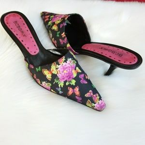 BCBGirls | Floral Point Toe Mules